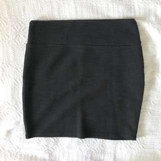 Cotton On Black Textured Skirt