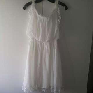 白色浪漫雪紡無袖洋裝