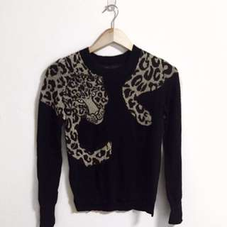 BCBG Black Metallic Leopard Sweater
