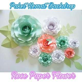 Rose paper flower, bunga kertas mawar untuk backdrop photobooth, dekorasi pesta, bazar