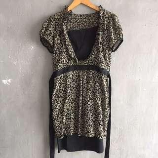 Vintage Flower Dress Black