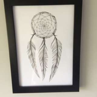 NZ Finch Dreamcatcher print with frame