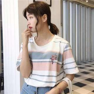 (全新)紅鶴刺繡T恤