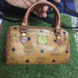 Authentic MCM mini Boston Bag in Cognac Visetos