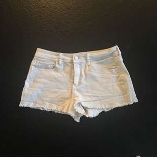 French connection white denim shorts