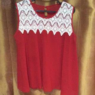 Red top with lace details