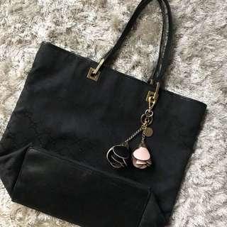 Gucci Black GG Logo Canvas Leather Shopper Tote Bag