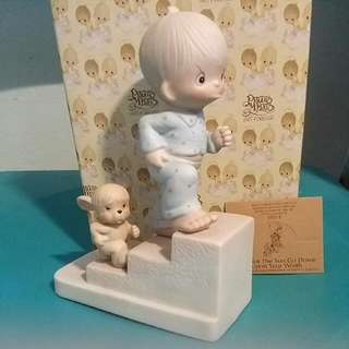 Precious Moments Angry Boy & Dog Figurine : Let Not The Sun Go Down Upon Your Wrath