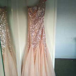 Sequined with tulle Evening Gown