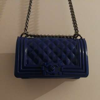 Electric Blue Rubber Chanel Boy Inspired Bag