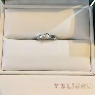 TSL 謝瑞麟 18K 750 白金 13份 鑽石 戒指 介指 介子 diamond ring 💍