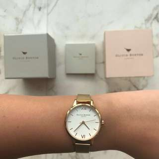 Olivia Burton White Dial in Rose Gold COMPLETE SET