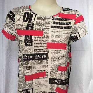 Newspaper Print Top - Black White Pink Shirt