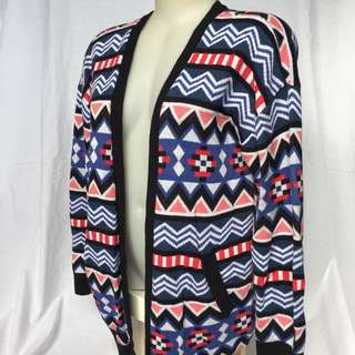 Aztec Pattern Winter Cardigan - Blue Pink White Red Black
