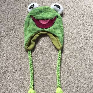 Kermit The Frog Disney Beanie - Green Winter Beanie Muppets Disneyland