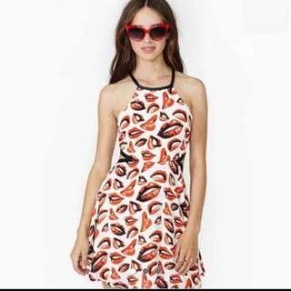 Lips-All-Over Halter Neck Midi Dress