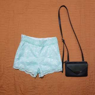 Teal lace shorts