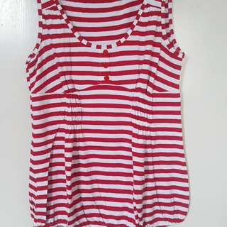 Red and White Combie Top