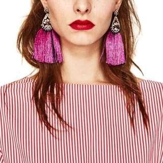 Pink Tassel and Rhinestone Drop Earring