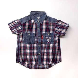(Size 2T) Boys Denim Checkered Shirt