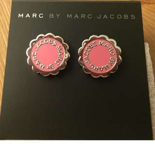 Marc By Marc Jacobs Enamel Scalloped Disc Stud Earrings - Bright Rose