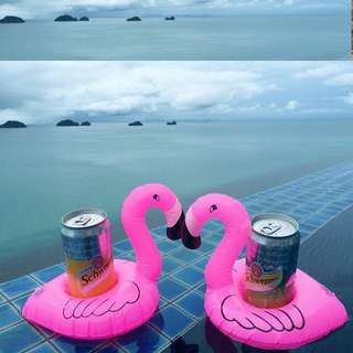 Mini Flamingo Pool Float Inflatable Drink Cup Holder