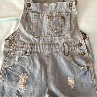 Vintage baggy-styled Denim Overalls/short Dungarees