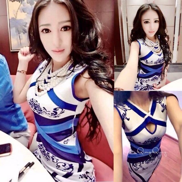 青花瓷復古旗袍連身裙
