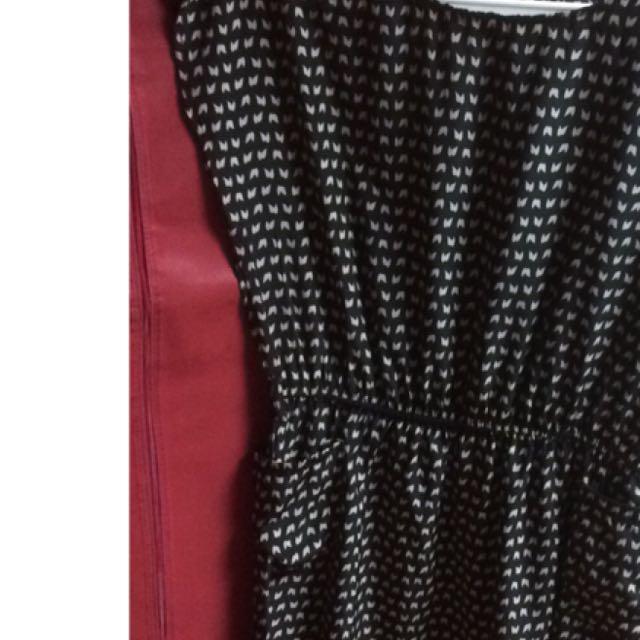 黑白圖紋雪紡紗束腰小洋裝
