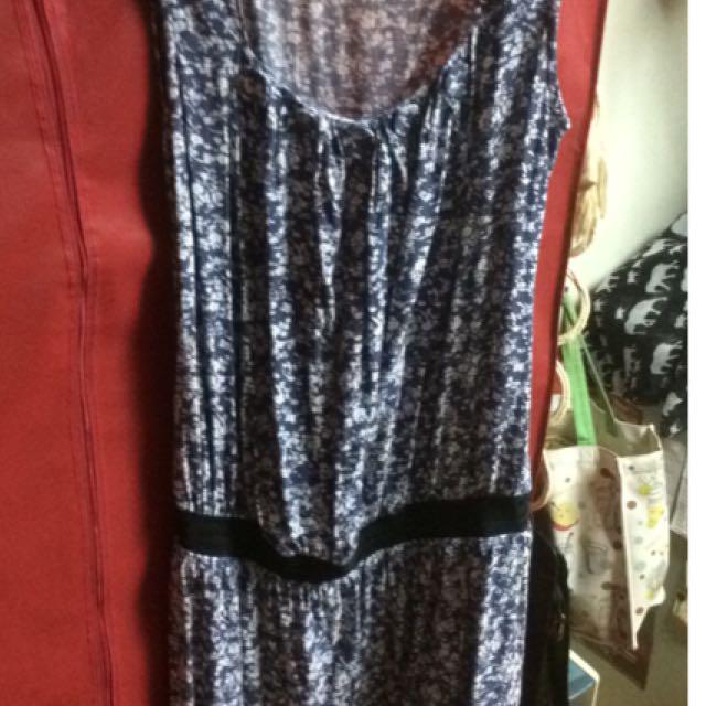 藍色紋路束腰小洋裝