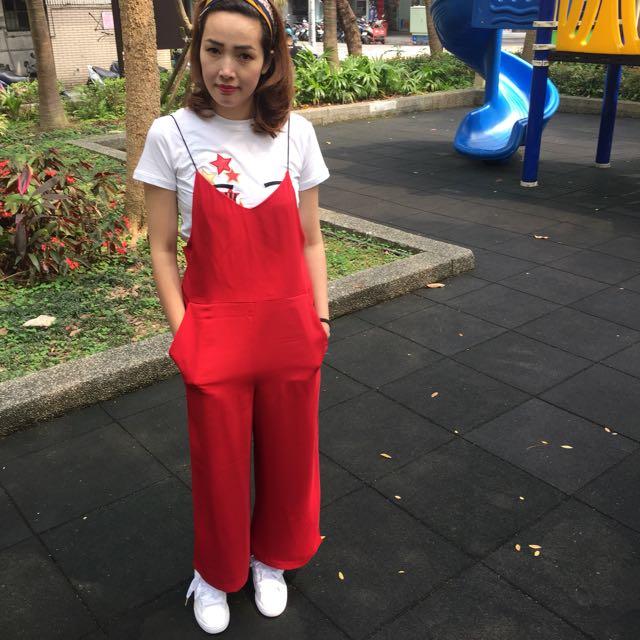 正韓紅色吊帶褲