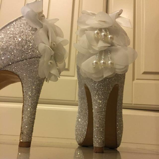 婚鞋 高跟鞋 銀 白色  氣墊