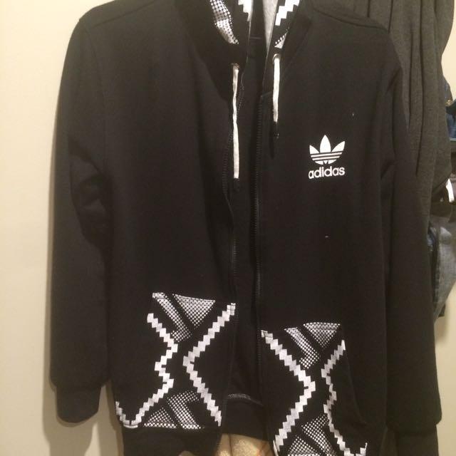 Adidas Inspired Zip Hoodie