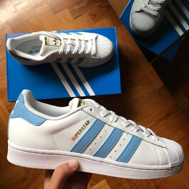 best service 4e45c 85502 Adidas Superstar Light Blue White Gold Shoe, Men s Fashion, Footwear on  Carousell
