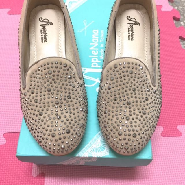 applenana手工女鞋 全新亮片娃娃鞋