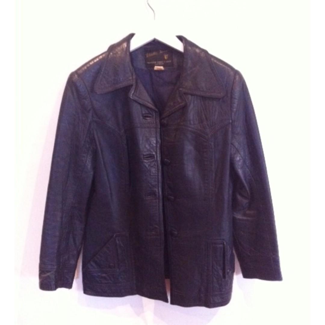 Authentic Navy Leather Jacket Size 14