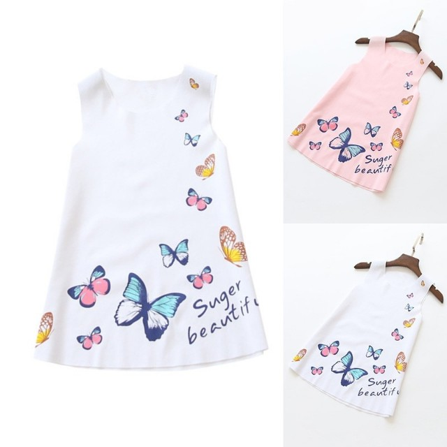 Baby kids girl sleeveless butterfly casual dress
