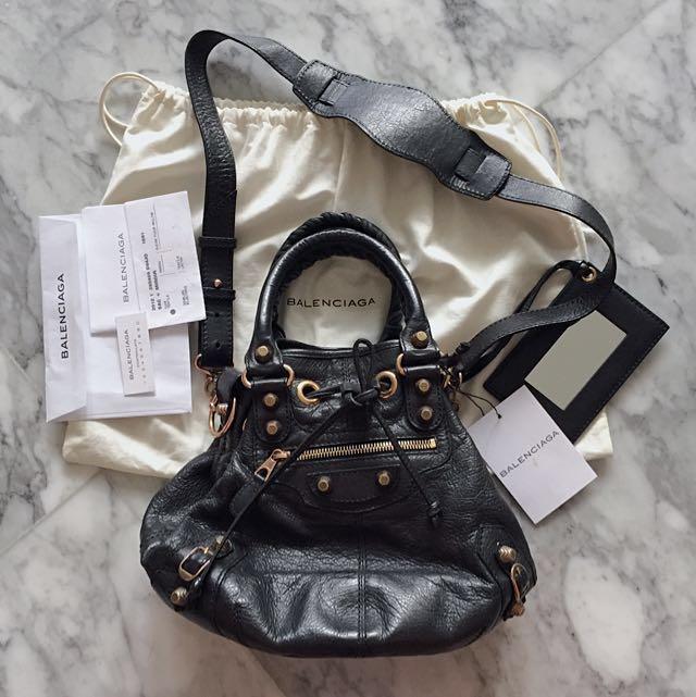 Balenciaga Pompom Bag Black Rose Gold Hardware