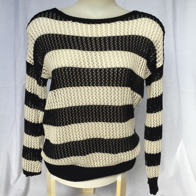 Black And White Striped Winter Knit Top