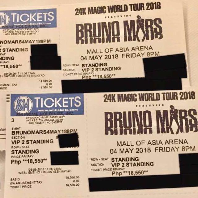 Bruno Mars 24k Magic World Tour (Manila) VIP2 Ticket