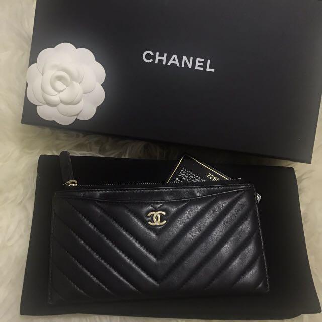 Chanel 香奈兒山形文羊皮金釦香檳金拉鍊信封長夾零錢包