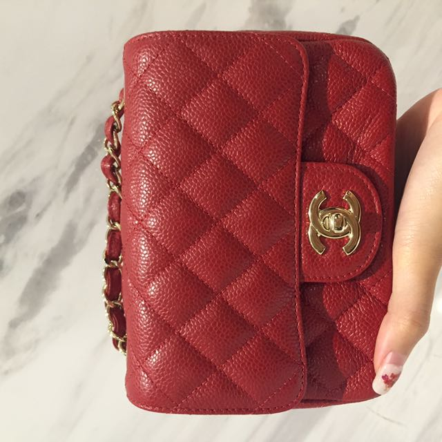 ff2d5b63 Chanel Mini Square Red Caviar with GHW