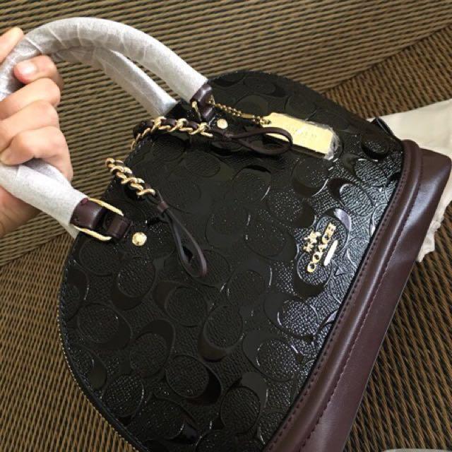Coach F55450 Mini Sierra Satchel in Signature Debossed Patent Leather
