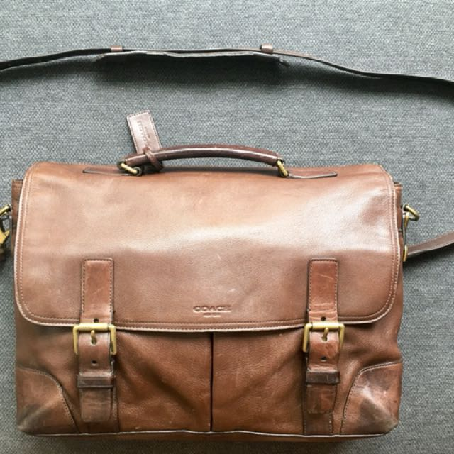61650524a7 COACH NEW YORK leather laptop messenger bag