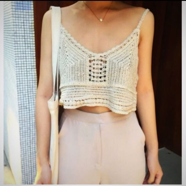 Crochet Knitted Crop Top Womens Fashion Clothes Tops On Carousell