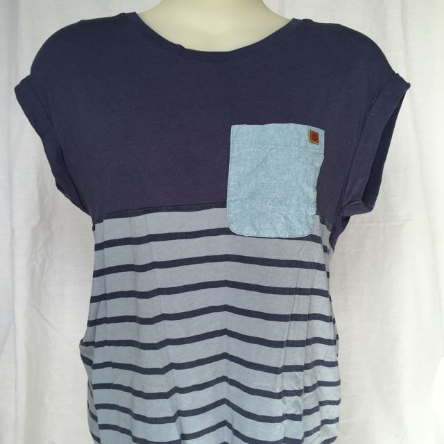 Element Blue Striped T Shirt With Pocket Summer Tee