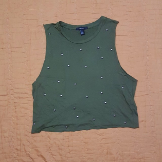 Forever 21 army green studded croptop