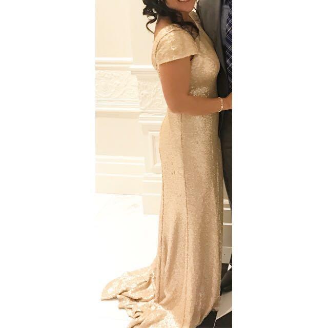 Gold Sequin Floor Length Gown