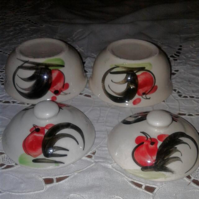 Hand Painted Small Chicken Bowl With Lid