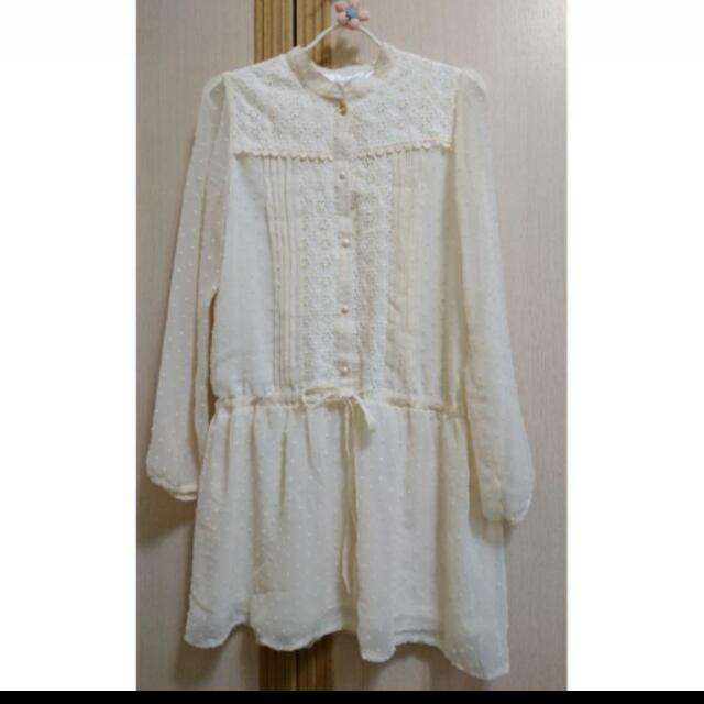 全新專櫃Jeanasis杏色立領蕾絲雕花雪紡蝴蝶結綁帶縮腰洋裝